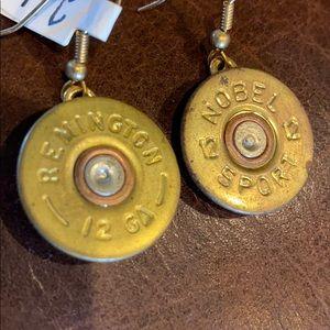 NWT Remington 12 gauge brass earrings